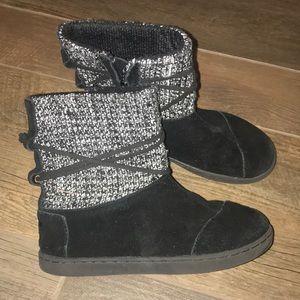 Black & Silver Velvet TOMS Boots